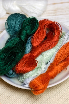 Threads for hand embroidery on wooden