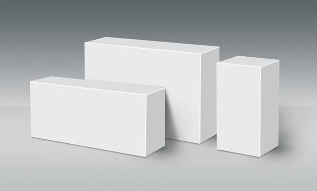 Три 3d белых ящика на земле
