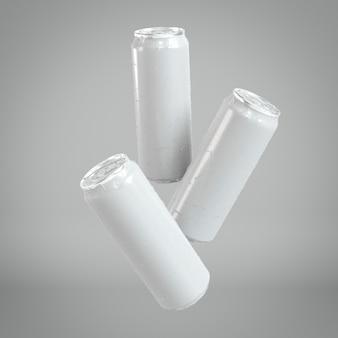 Презентация трех абстрактных алюминиевых банок для напитков