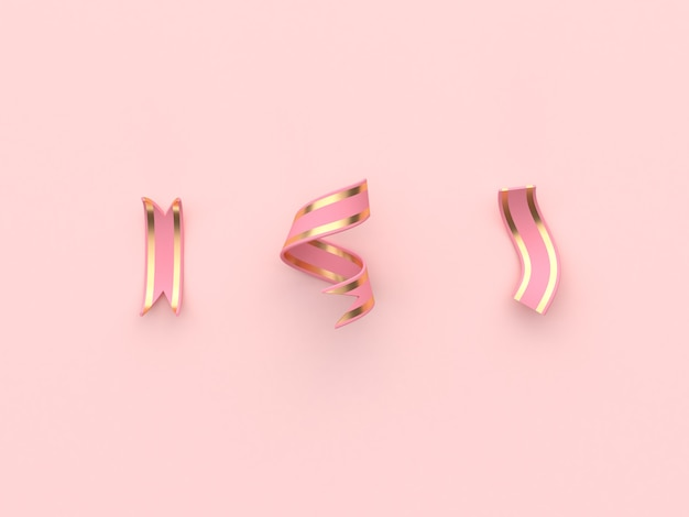 Three abstract ribbon pink gold decoration concept 3d rendering
