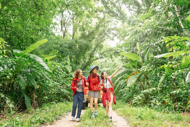 Three asian woman hiking in forest on vacation