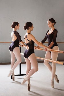 Three ballerinas in pointe shoes and leotards rehearsing