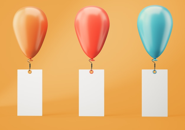 Three balloons with blank banners on orange