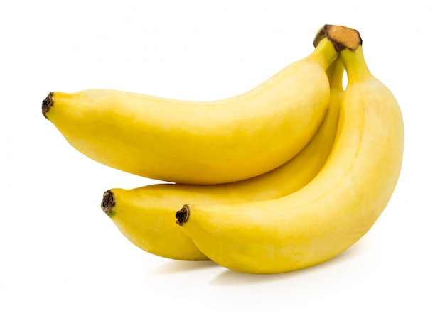 Three bananas isolated on white  with clipping path