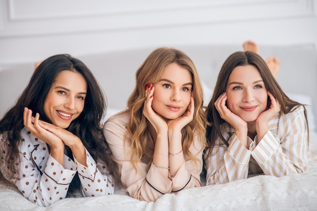 Three beauties. picture of three beautiful girls spending time together