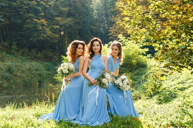 Three beautiful bridesmaids