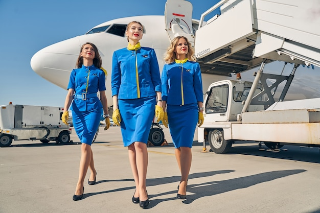 Three beautiful slim young caucasian ladies in uniforms staring into the distance