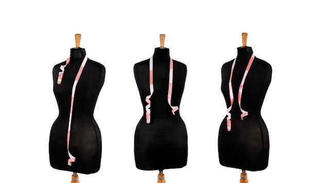 テーラーカッター用の3つの黒い女性マネキン