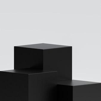 흰색에 3 개의 검은 연단 무대 스탠드