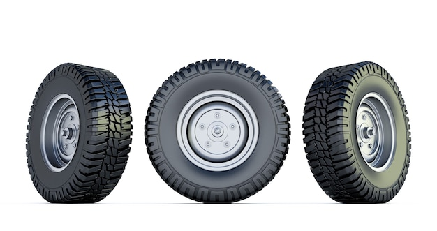 3つの黒いタイヤ。ホワイトスペースに分離された自動車のホイールの3dレンダリング。車のタイヤ。