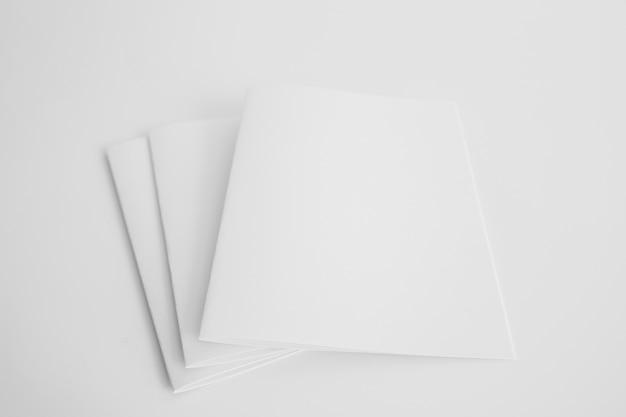 Three blank brochures