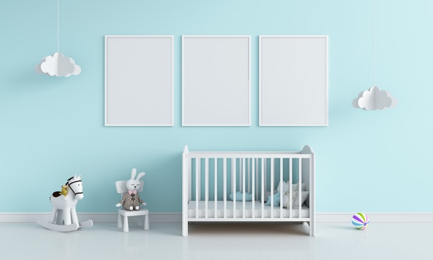 Three blank photo frame in child room for mockup