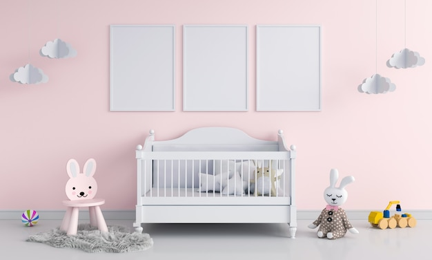 Three blank photo frame in child room