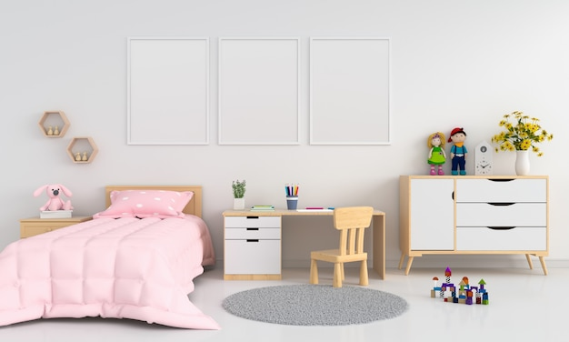 Three blank photo frame for mockup in childern bedroom interior