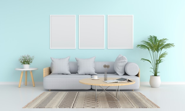 Three blank photo frame for mockup in living room