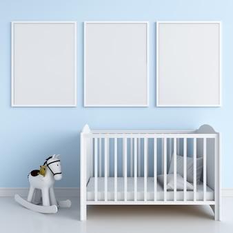 Three blank photo frame for mockup