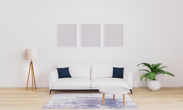 壁に3つの空白のフォトフレーム。写真を挿入します。リビングルームのモダンなインテリア