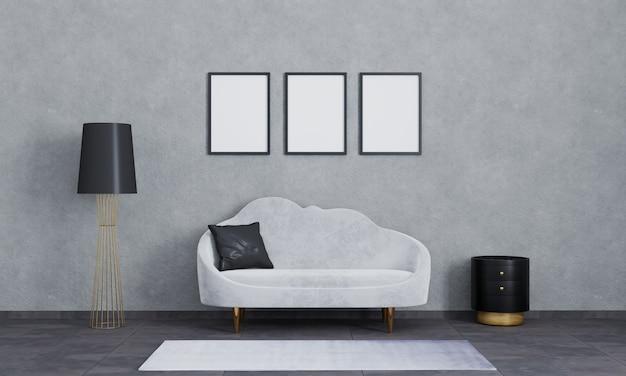 벽에 세 개의 빈 사진 프레임입니다. 사진을 삽입하십시오. 거실의 현대적인 인테리어