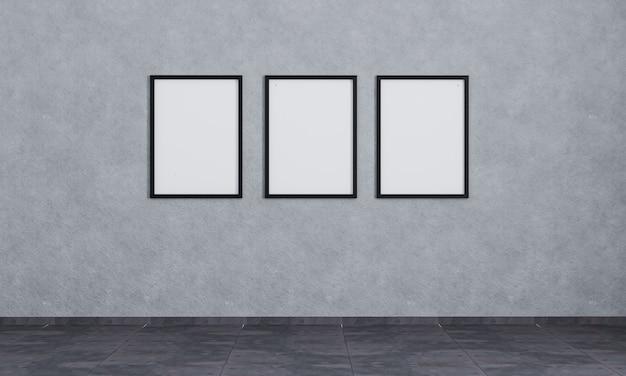 Three blank photo frames on wall.