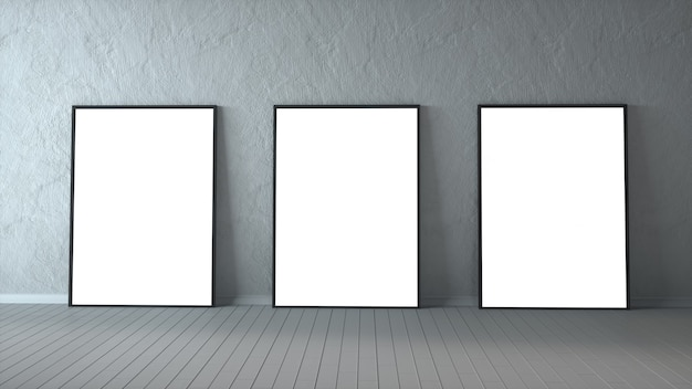 Three blank picture frames on a wood floor. 3d rendering.