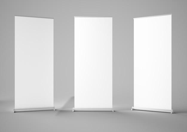 Three blank roller rollups