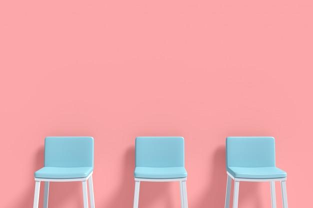 Three blue chairs minimal concept