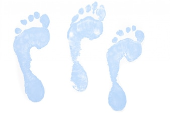 Three blue footprints