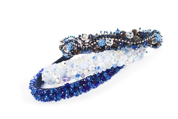 Три синих ювелирных ободка для женских волос