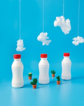 Three bottles of milk, cactus and clouds