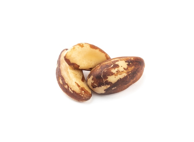 Three brazil nuts isolated over white background.