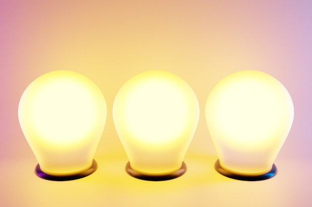 Three bright yellow light bulbs in a row are lit on a pink isolated background. the bulbs from the recess are shining brightly