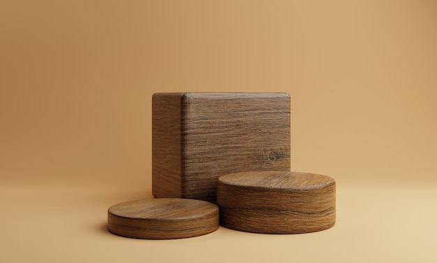 Three brown wooden rectangle cube and round cylinder product stage podium on orange background
