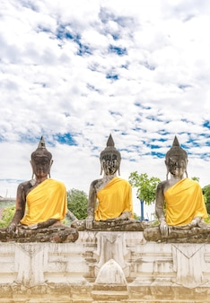 Three buddha images against the sky background keep calm.