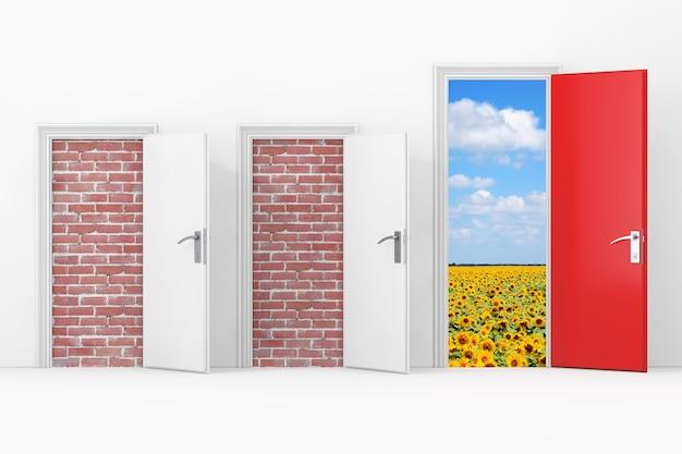 Три двери бизнес-офиса, две двери, заблокированные кирпичной стеной, одна большая, главная, открытая и красная дверь со свободным проходом к свободе перед крайним крупным планом стены. 3d рендеринг