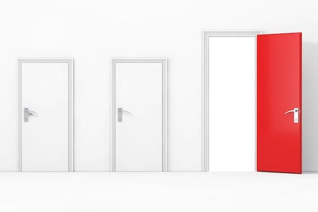Три двери бизнес-офиса, одна большая, главная, открытая и красная перед крайним крупным планом стены. 3d рендеринг