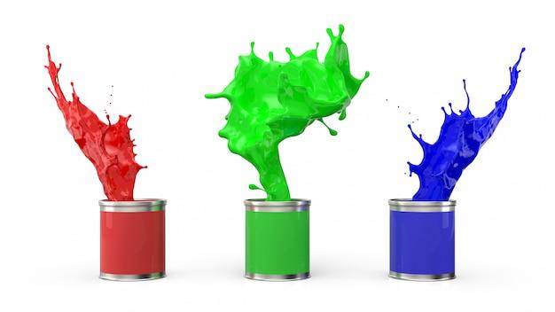 Три банки краски и брызги из них на белом фоне. определение цветовой системы rgb. 3d визуализация.