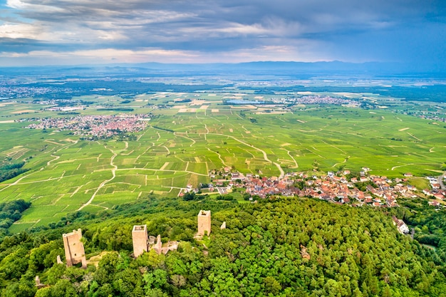 The three castles of eguisheim or husseren-les-chateaux in the haut-rhin department - alsace, france