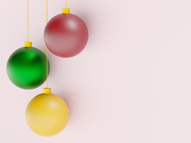 새 해 텍스트 배경 가진 3 개의 크리스마스 공