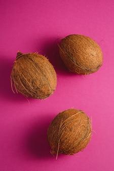 鮮やかなピンクパープルの無地の背景、トロピカルコンセプト、トップビューで3つのココナッツフルーツ