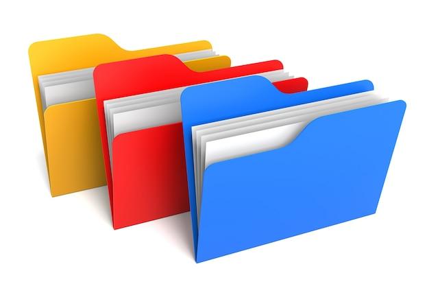 세 가지 색상 폴더 및 파일. 3d 렌더링