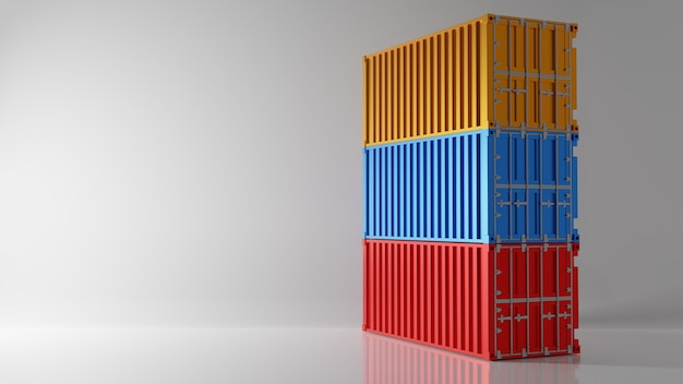 Three color intermodal container stack on white background. industry shipping container storage cargo in warehouse shipyard dock. import and export concept. studio shot. 3d illustration rendering