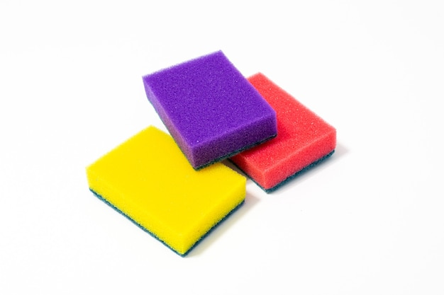 Three colored foam sponges for washing dishes