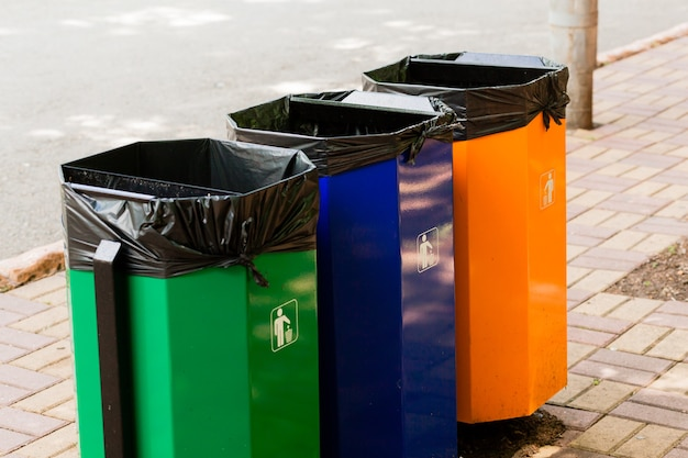 Три цветных мусорных бака в парке рядом с пешеходной дорожкой.
