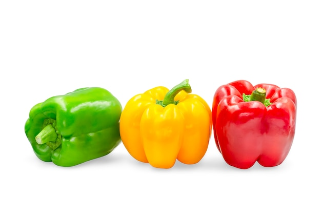 Three colors sweet bell pepper on white isolated with clipping path.