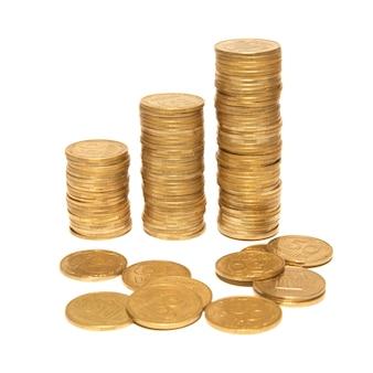 分離された3列の金貨