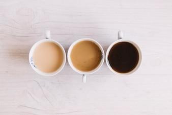 Three cups of coffee