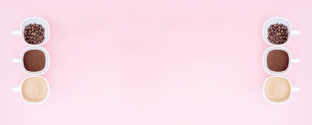 ピンクの背景に分離されたコーヒーの準備またはコーヒー飲料の作成の異なる段階の3つのカップ、コピースペース。上面図。