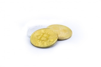 Three currency of Digital, Digital money. Gold and silver Coin. bitcoin ripple ethereum.