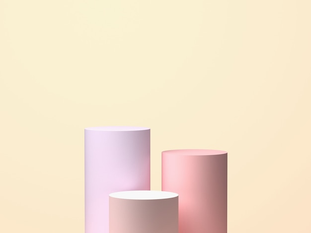 파스텔 바탕에 3 개의 실린더입니다. 기하학적 3d 모양, 예술 디자인. 3d 렌더링