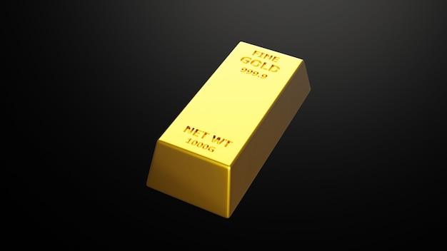 Три d визуализации золотого кирпичного золотого слитка финансовая концепция студийных снимков